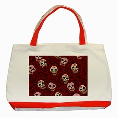Funny Skull Rosebed Classic Tote Bag (red)