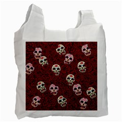 Funny Skull Rosebed Recycle Bag (one Side) by designworld65