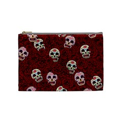Funny Skull Rosebed Cosmetic Bag (medium)  by designworld65
