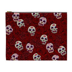 Funny Skull Rosebed Cosmetic Bag (xl) by designworld65