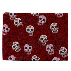 Funny Skull Rosebed Cosmetic Bag (xxl)  by designworld65
