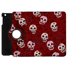 Funny Skull Rosebed Apple Ipad Mini Flip 360 Case by designworld65