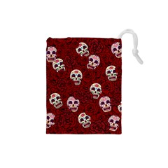 Funny Skull Rosebed Drawstring Pouches (small)