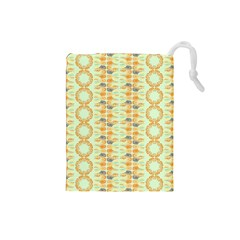 Ethnic Orange Pattern Drawstring Pouches (small)  by linceazul