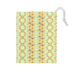 Ethnic Orange Pattern Drawstring Pouches (large)  by linceazul