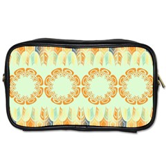 Ethnic Orange Pattern Toiletries Bags 2 Side by linceazul