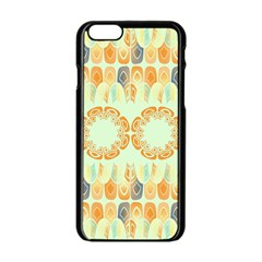 Ethnic Orange Pattern Apple Iphone 6/6s Black Enamel Case by linceazul