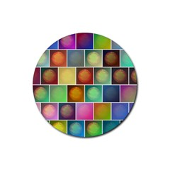 Multicolored Suns Rubber Coaster (round)  by linceazul