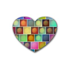 Multicolored Suns Rubber Coaster (heart)  by linceazul