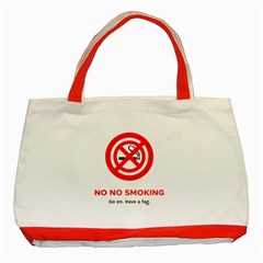 No No Smoking Classic Tote Bag (red) by RakeClag
