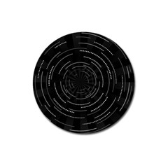 Abstract Black White Geometric Arcs Triangles Wicker Structural Texture Hole Circle Magnet 3  (round) by Mariart
