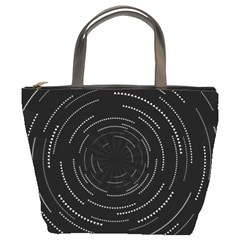 Abstract Black White Geometric Arcs Triangles Wicker Structural Texture Hole Circle Bucket Bags by Mariart