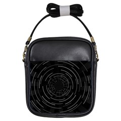Abstract Black White Geometric Arcs Triangles Wicker Structural Texture Hole Circle Girls Sling Bags by Mariart
