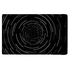 Abstract Black White Geometric Arcs Triangles Wicker Structural Texture Hole Circle Apple Ipad 3/4 Flip Case by Mariart