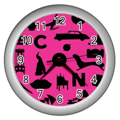 Car Plan Pinkcover Outside Wall Clocks (silver)  by Mariart