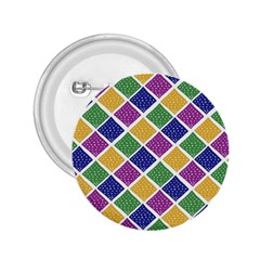 African Illutrations Plaid Color Rainbow Blue Green Yellow Purple White Line Chevron Wave Polkadot 2 25  Buttons