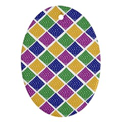 African Illutrations Plaid Color Rainbow Blue Green Yellow Purple White Line Chevron Wave Polkadot Ornament (oval) by Mariart