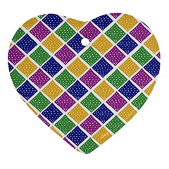 African Illutrations Plaid Color Rainbow Blue Green Yellow Purple White Line Chevron Wave Polkadot Ornament (heart) by Mariart