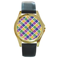 African Illutrations Plaid Color Rainbow Blue Green Yellow Purple White Line Chevron Wave Polkadot Round Gold Metal Watch by Mariart