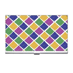 African Illutrations Plaid Color Rainbow Blue Green Yellow Purple White Line Chevron Wave Polkadot Business Card Holders by Mariart