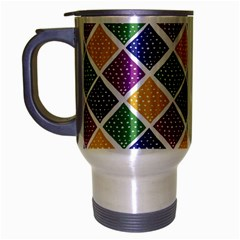 African Illutrations Plaid Color Rainbow Blue Green Yellow Purple White Line Chevron Wave Polkadot Travel Mug (silver Gray) by Mariart