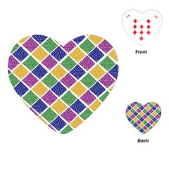 African Illutrations Plaid Color Rainbow Blue Green Yellow Purple White Line Chevron Wave Polkadot Playing Cards (heart)  by Mariart