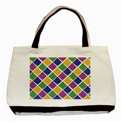 African Illutrations Plaid Color Rainbow Blue Green Yellow Purple White Line Chevron Wave Polkadot Basic Tote Bag by Mariart