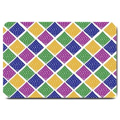 African Illutrations Plaid Color Rainbow Blue Green Yellow Purple White Line Chevron Wave Polkadot Large Doormat  by Mariart