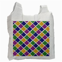 African Illutrations Plaid Color Rainbow Blue Green Yellow Purple White Line Chevron Wave Polkadot Recycle Bag (one Side) by Mariart