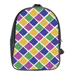 African Illutrations Plaid Color Rainbow Blue Green Yellow Purple White Line Chevron Wave Polkadot School Bags(large)