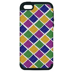 African Illutrations Plaid Color Rainbow Blue Green Yellow Purple White Line Chevron Wave Polkadot Apple Iphone 5 Hardshell Case (pc+silicone) by Mariart