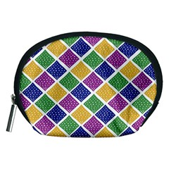 African Illutrations Plaid Color Rainbow Blue Green Yellow Purple White Line Chevron Wave Polkadot Accessory Pouches (medium)