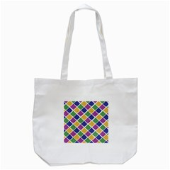 African Illutrations Plaid Color Rainbow Blue Green Yellow Purple White Line Chevron Wave Polkadot Tote Bag (white)