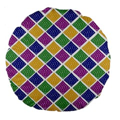 African Illutrations Plaid Color Rainbow Blue Green Yellow Purple White Line Chevron Wave Polkadot Large 18  Premium Flano Round Cushions by Mariart