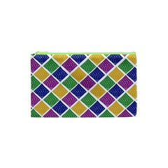 African Illutrations Plaid Color Rainbow Blue Green Yellow Purple White Line Chevron Wave Polkadot Cosmetic Bag (xs) by Mariart