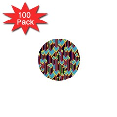 Building City Plaid Chevron Wave Blue Green 1  Mini Buttons (100 Pack)