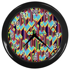 Building City Plaid Chevron Wave Blue Green Wall Clocks (black)