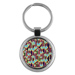 Building City Plaid Chevron Wave Blue Green Key Chains (round)  by Mariart
