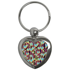 Building City Plaid Chevron Wave Blue Green Key Chains (heart)  by Mariart
