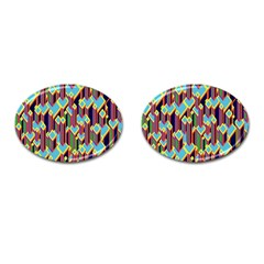 Building City Plaid Chevron Wave Blue Green Cufflinks (oval) by Mariart