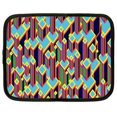 Building City Plaid Chevron Wave Blue Green Netbook Case (xxl)  by Mariart