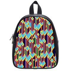 Building City Plaid Chevron Wave Blue Green School Bags (small)  by Mariart
