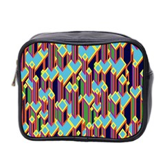 Building City Plaid Chevron Wave Blue Green Mini Toiletries Bag 2 Side by Mariart