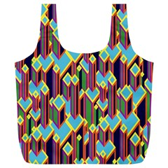 Building City Plaid Chevron Wave Blue Green Full Print Recycle Bags (l)  by Mariart