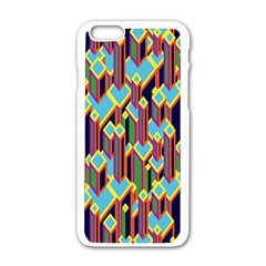 Building City Plaid Chevron Wave Blue Green Apple Iphone 6/6s White Enamel Case by Mariart