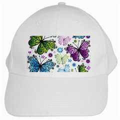 Butterfly Animals Fly Purple Green Blue Polkadot Flower Floral Star White Cap by Mariart