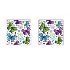 Butterfly Animals Fly Purple Green Blue Polkadot Flower Floral Star Cufflinks (square) by Mariart