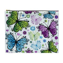 Butterfly Animals Fly Purple Green Blue Polkadot Flower Floral Star Cosmetic Bag (xl) by Mariart