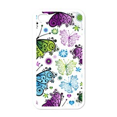 Butterfly Animals Fly Purple Green Blue Polkadot Flower Floral Star Apple Iphone 4 Case (white)