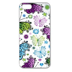 Butterfly Animals Fly Purple Green Blue Polkadot Flower Floral Star Apple Seamless Iphone 5 Case (clear) by Mariart